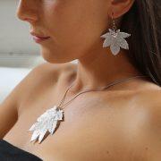 libellulabio acerofullmoon argento ciondolo e orecchini