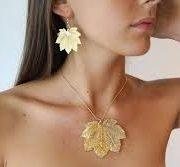 libellulabio acerofullmoon oro ciondolo e orecchini